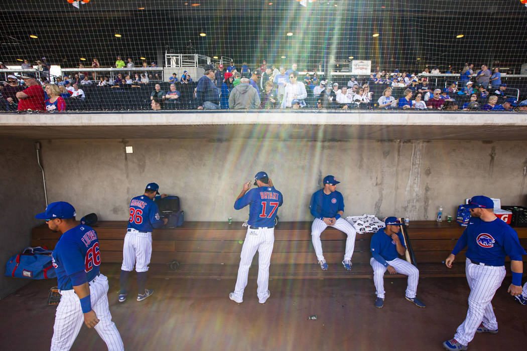 Chicago Cubs' Kris Bryant (17) gets ready before the start of a baseball game against the Cinci ...