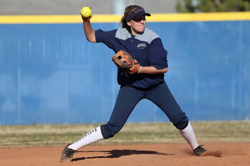 Shadow Ridge's Hailey Morrow, 16, gets ready to throw the ball during a softball practice at Sh ...