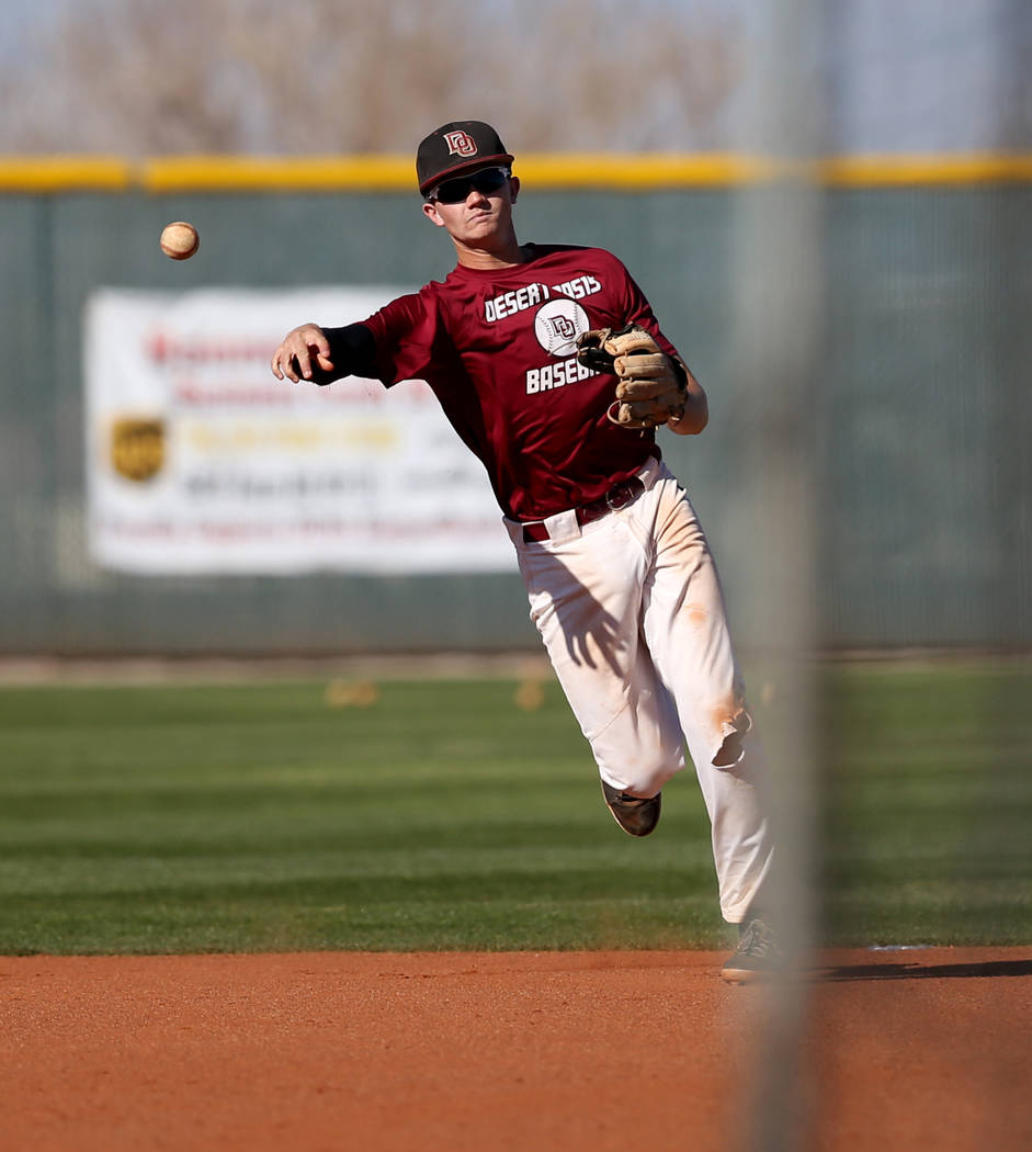 Desert Oasis shortstop Colby Smith tosses the ball in during batting practice at the school in ...