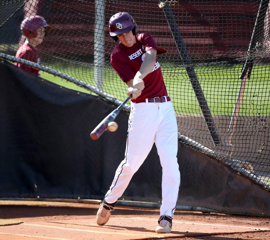Desert Oasis Tyler Stott takes batting practice at the school in Las Vegas Wednesday, March 4, ...