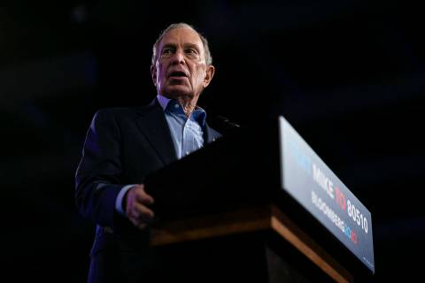 Democratic presidential candidate Mike Bloomberg speaks during a campaign rally at the Palm Bea ...