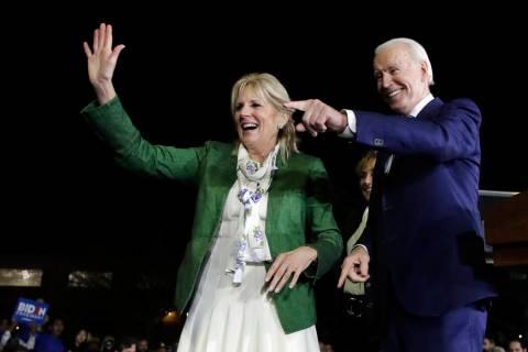 Democratic presidential candidate former Vice President Joe Biden, right, and his wife Jill att ...