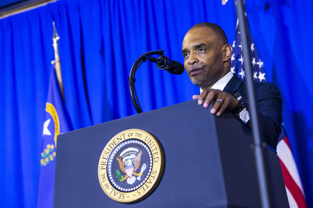 Hope for Prisoners CEO Jon Ponder speaks before introducing President Donald Trump during a gra ...