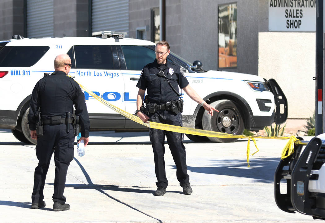North Las Vegas police are investigating a police shooting near Lamb Boulevard and Interstate ...