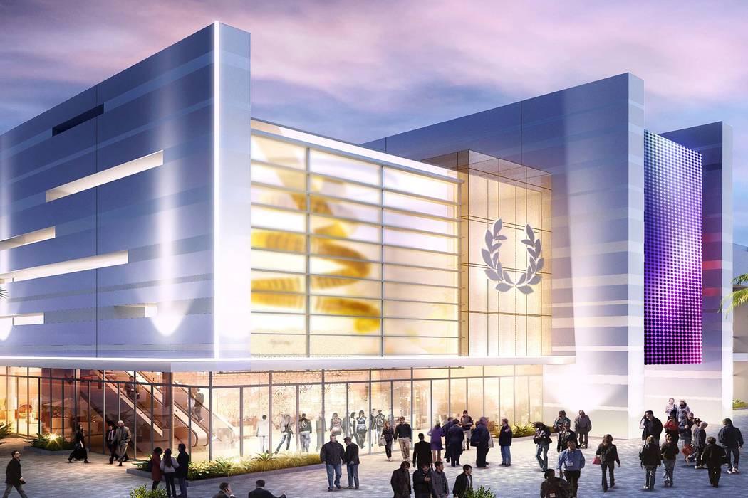 Rendering of exterior of Caesars Forum meeting center (Caesars Entertainment)