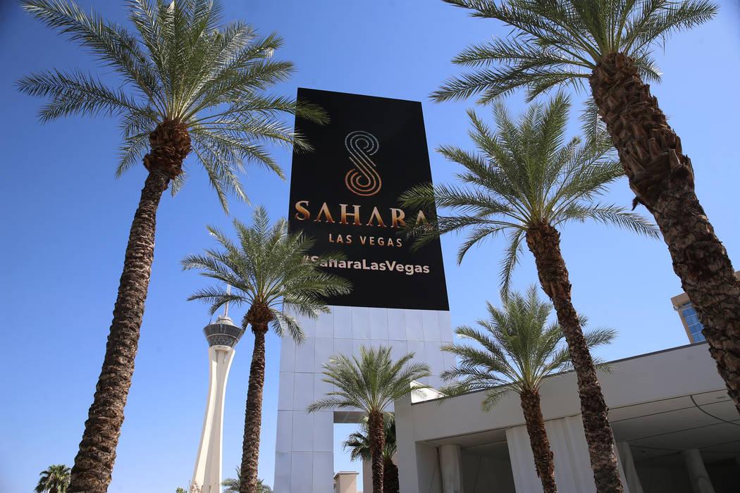 A screen shows the new branding for Sahara Las Vegas hotel-casino, formerly SLS Las Vegas, in L ...