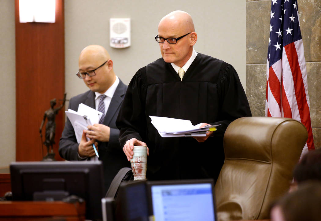 Clark County District Judge Rob Bare arrives for a hearing at the Regional Justice Center in La ...