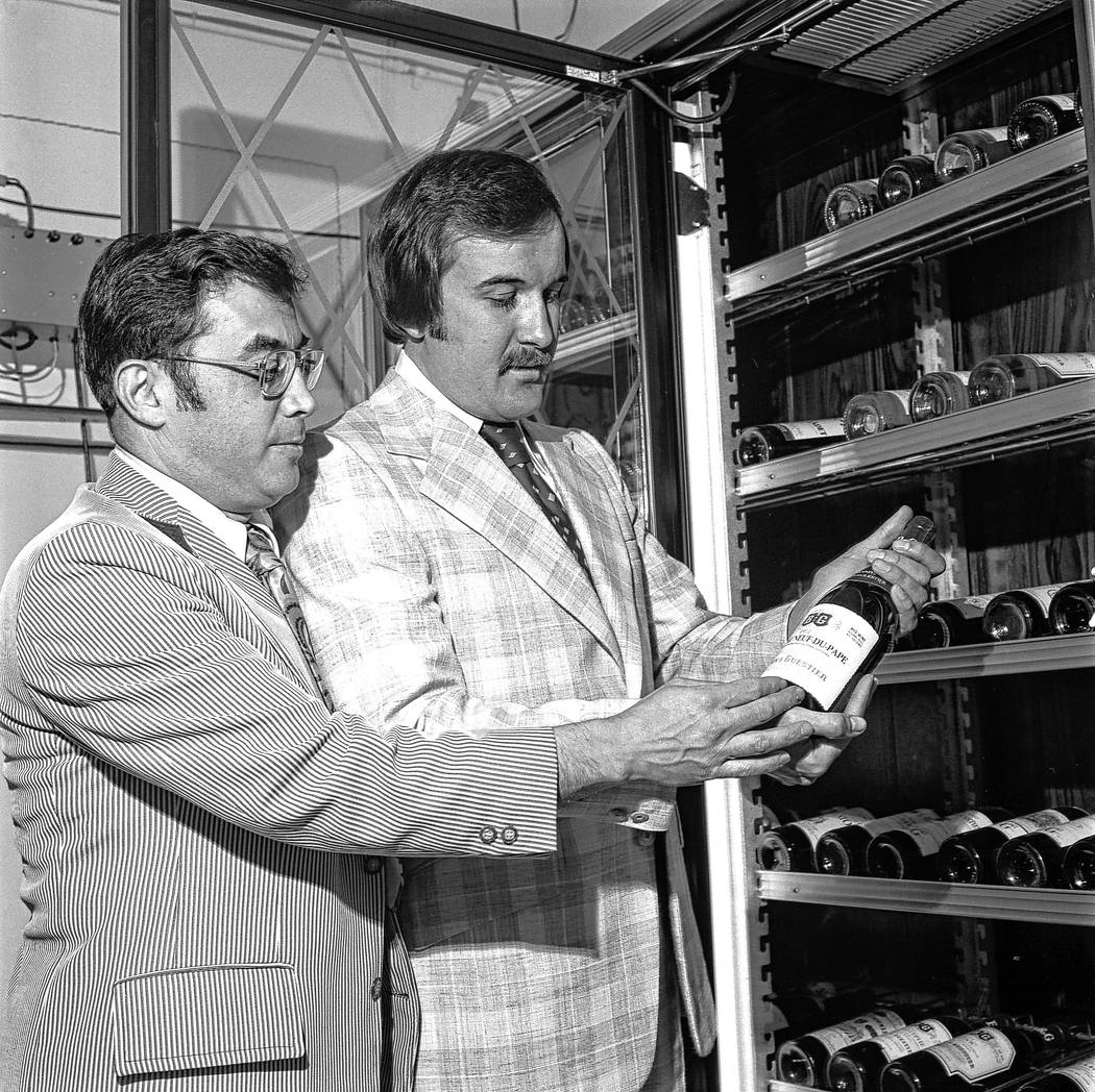 Jerry Vallen and Larry Ruvo examine a bottle of wine in 1974. Their efforts yielded UNLVino, wh ...