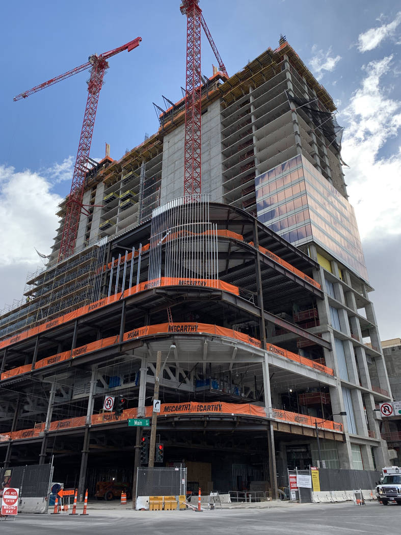 Circa, the new hotel-casino by owners Derek and Greg Stevens, is seen under construction on Wed ...