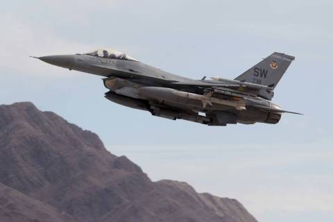 An F-16 takes off from Nellis Air Force Base in Las Vegas during Red Flag air combat exercise T ...