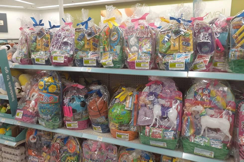 The Easter basket aisle at Walgreens, 2389 E. Windmill Lane in Las Vegas. (Tony Garcia/Las Vega ...
