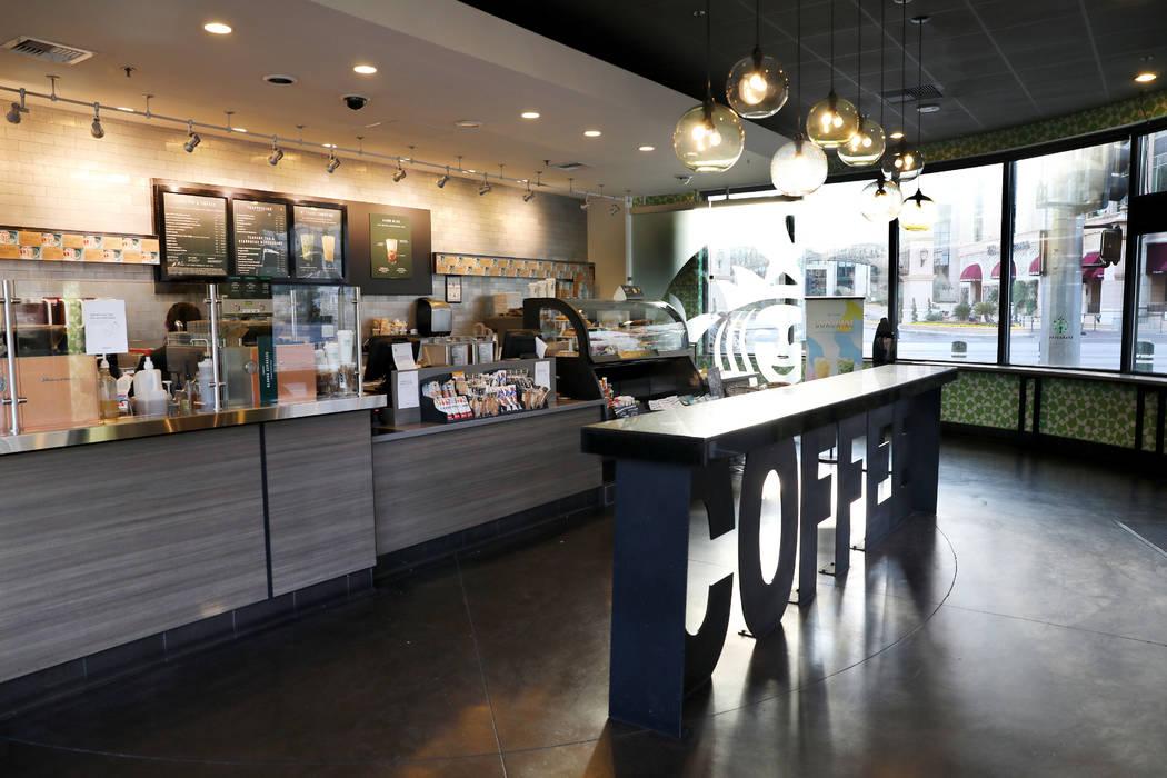 A Starbucks on the Las Vegas Strip is empty Monday morning, March 16, 2020. (Elizabeth Page Bru ...