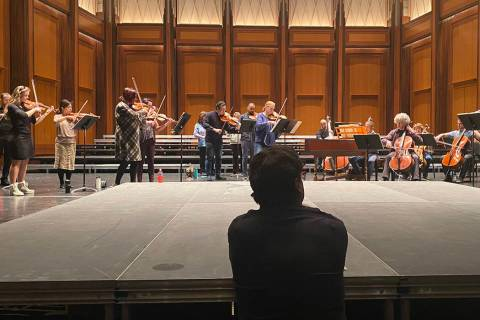 Donato Cabrera works with the Las Vegas Philharmonic at Reynolds Hall on Thursday, March 5, 202 ...