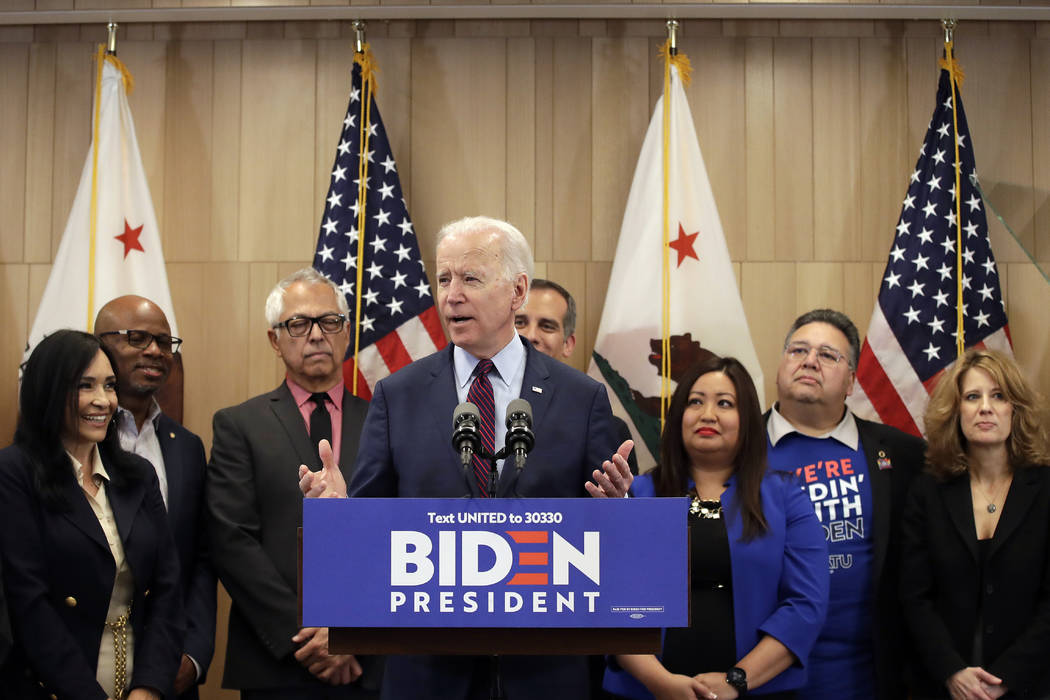 Democratic presidential candidate former Vice President Joe Biden speaks Wednesday, March 4, 20 ...