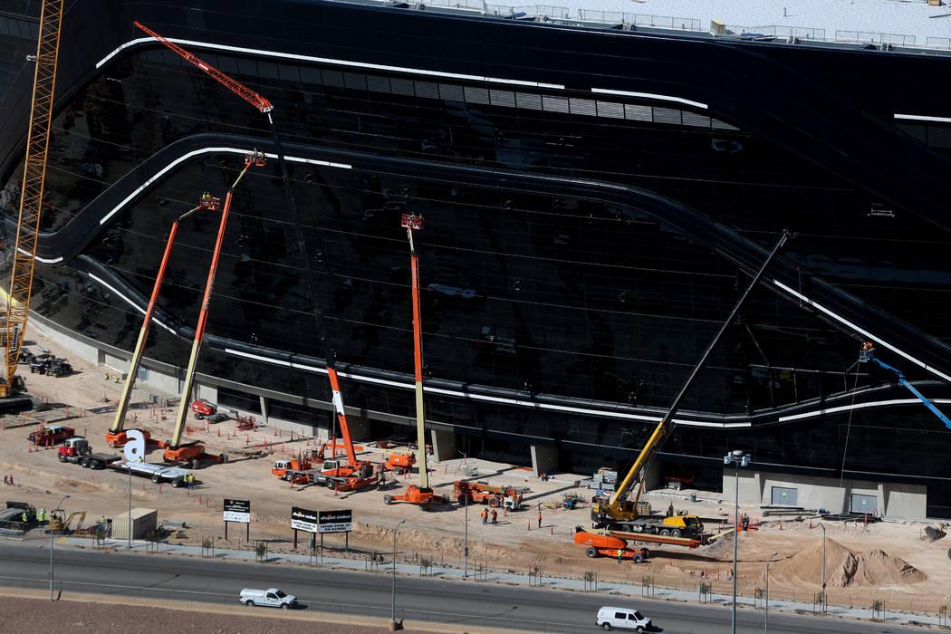 The Raiders Allegiant Stadium in Las Vegas before the stadium sign is installed, Thursday, Marc ...