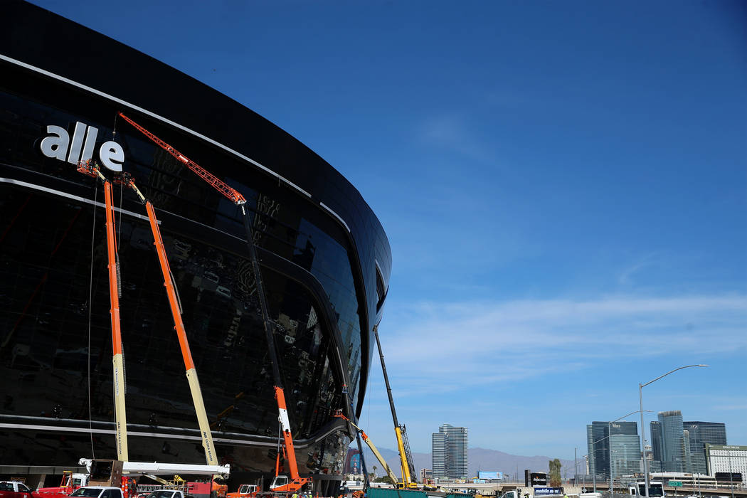 The signage of the Raiders Allegiant Stadium in Las Vegas is installed, Thursday, March 5, 2020 ...