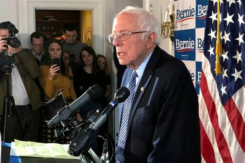 Democratic presidential candidate Sen. Bernie Sanders, I-Vt., speaks at his campaign headquarte ...