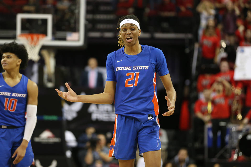Boise State Broncos guard Derrick Alston (21) reacts after getting called for a technical foul ...