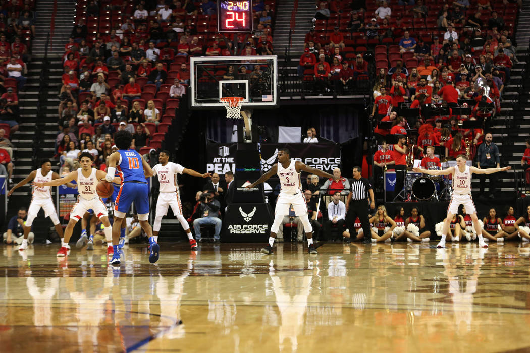 UNLV Rebels defend against the Boise State Broncos during the first half of the Mountain West t ...