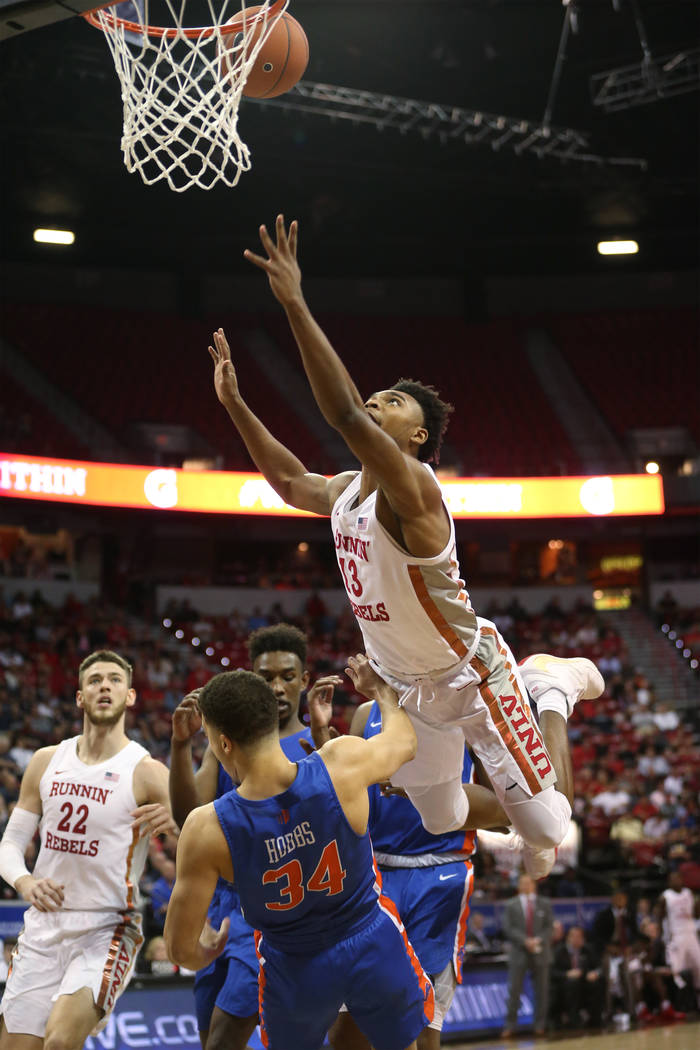 during the Mountain West tournament quarterfinal basketball game at the Thomas & Mack Cente ...