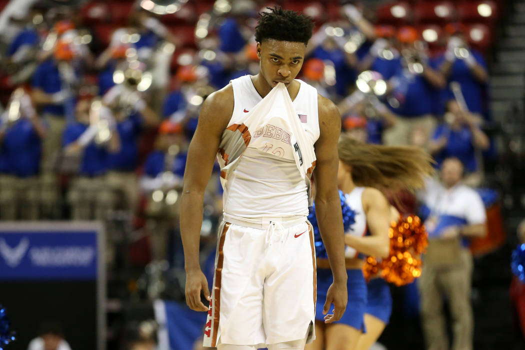 UNLV Rebels guard Bryce Hamilton (13) reacts after a loss against Boise State Broncos in the Mo ...