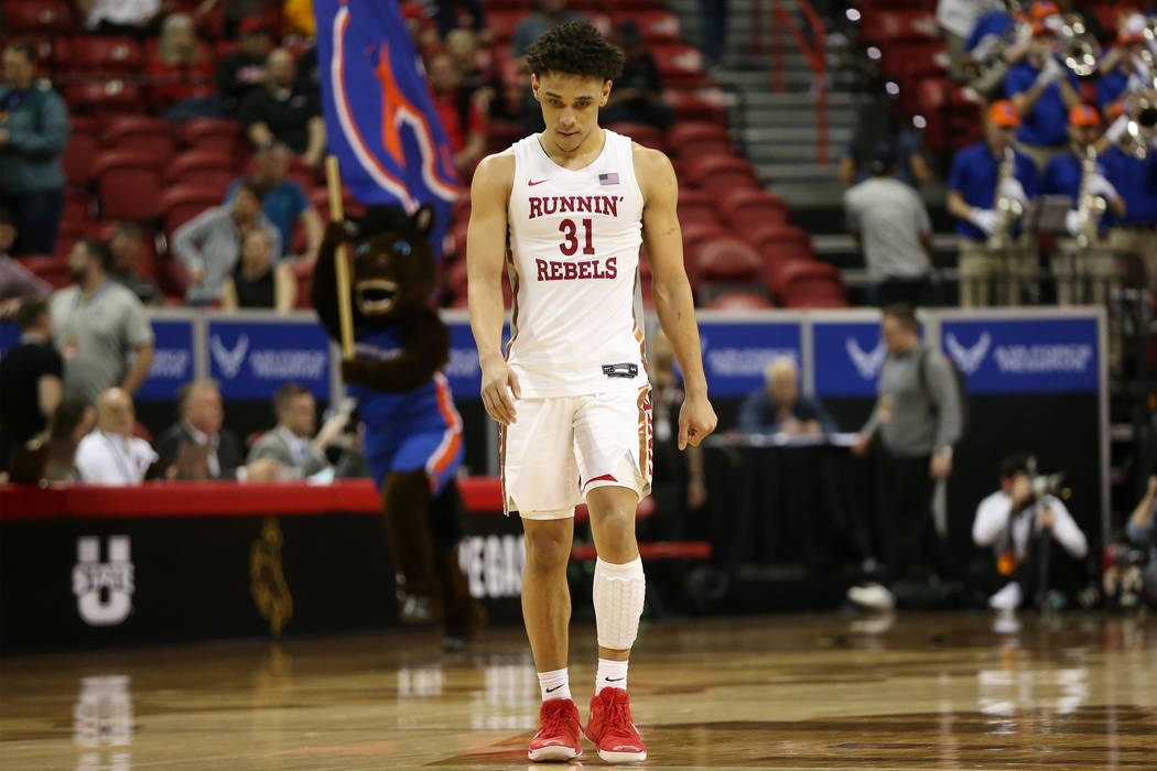 UNLV Rebels guard Marvin Coleman (31) reacts after a loss against Boise State Broncos in the Mo ...
