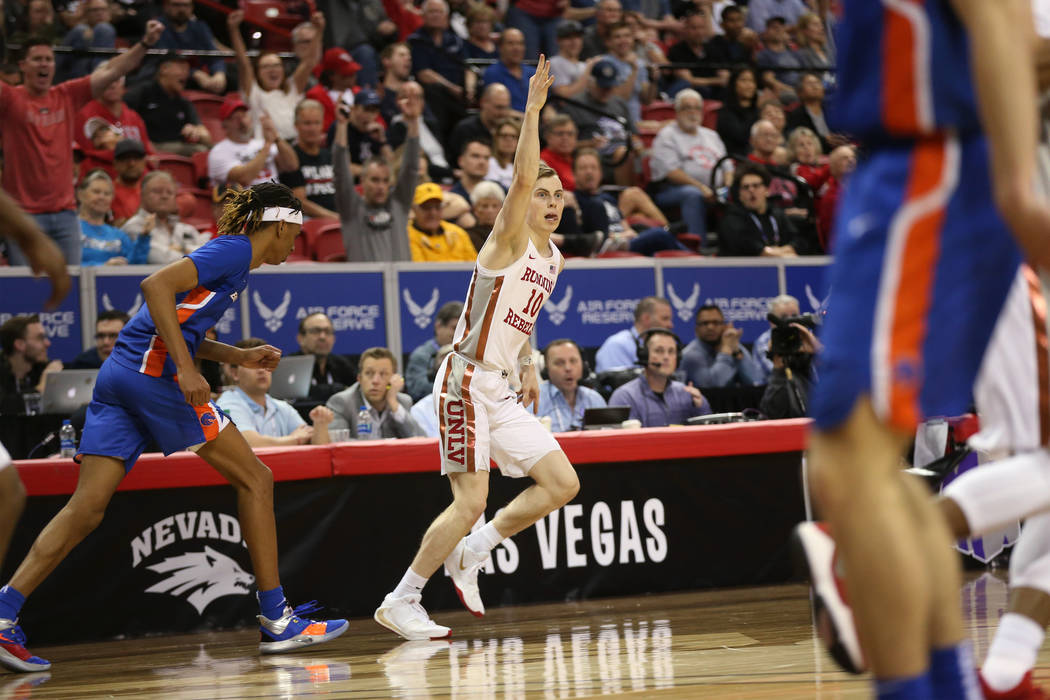 UNLV Rebels guard Jonah Antonio (10) reacts after scoring a three-point shot against Boise Stat ...