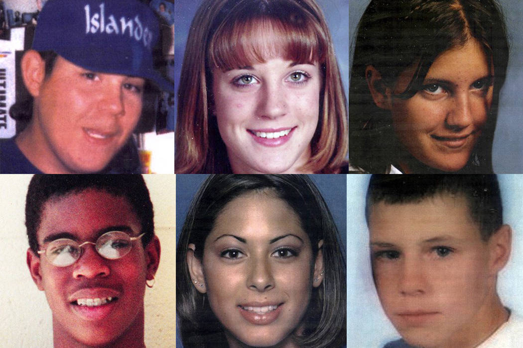 This combination of photos shows the six teens killed by Jessica Williams clockwise from top le ...