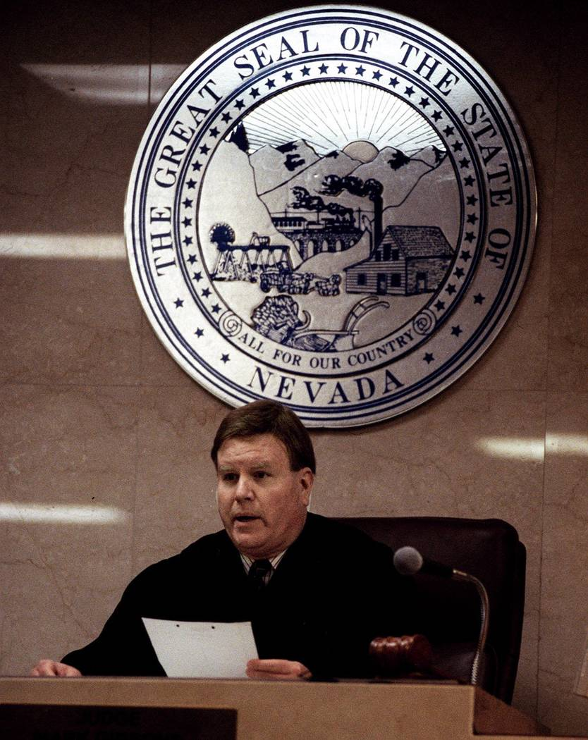 District Court Judge Mark Gibbons reads a question from the jury during the Jessica Williams' t ...