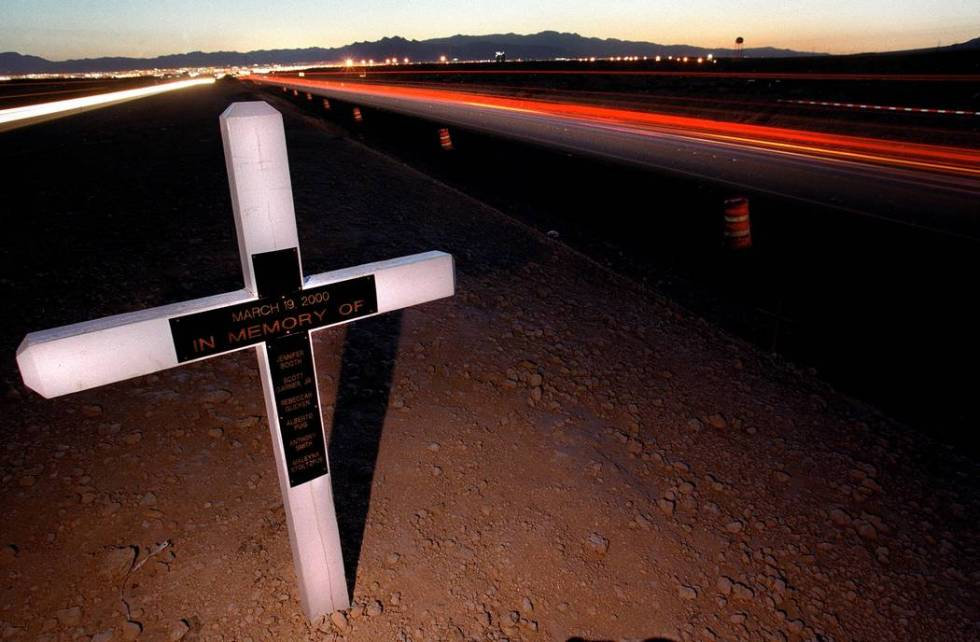 A memorial of the six victims that Jessica Williams slammed into on I-15 near the Las Vegas Sp ...