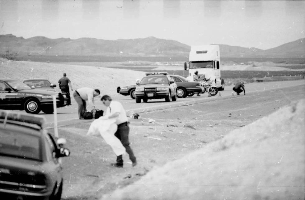 Crash scene where Jessica Williams van ran off the freeway and killed six teens who were cleani ...