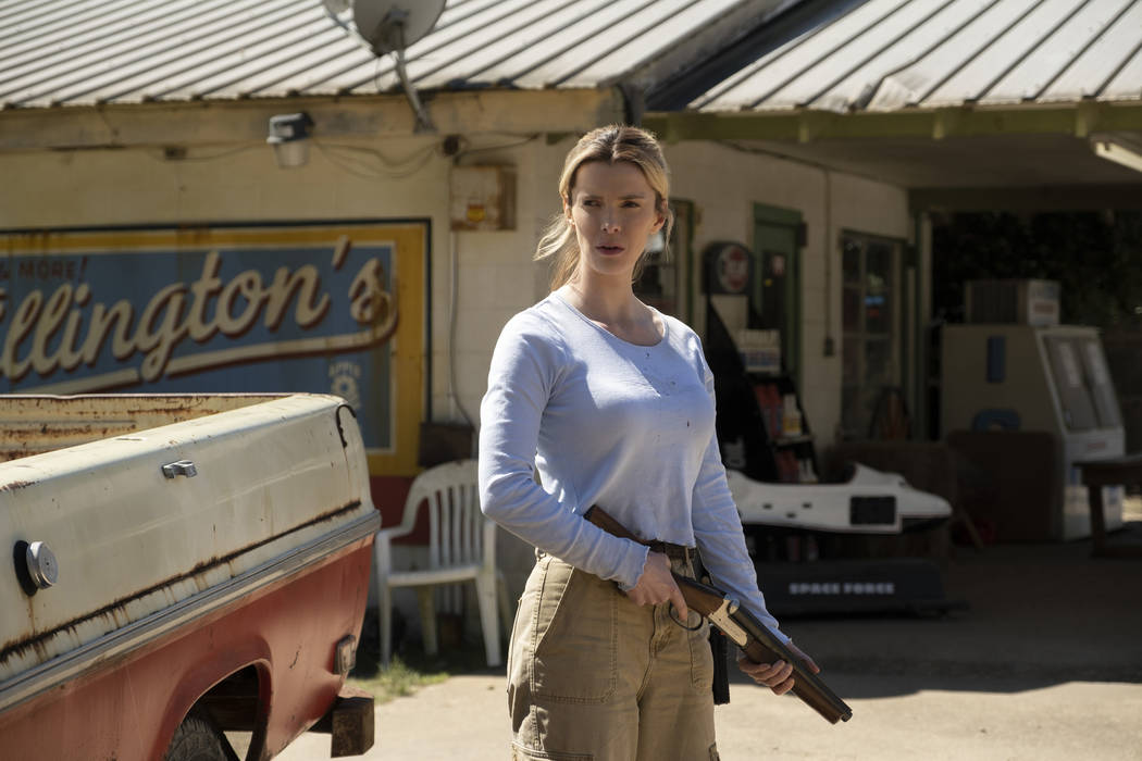 Betty Gilpin as Crystal in The Hunt, directed by Craig Zobel. (Universal Pictures)