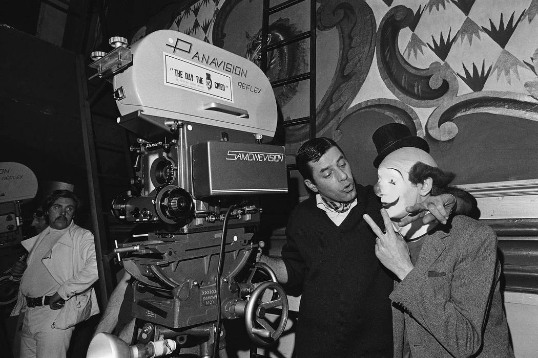 Jerry Lewis, center, shot first sequence of his film The Day the Clown cried and seen here left ...