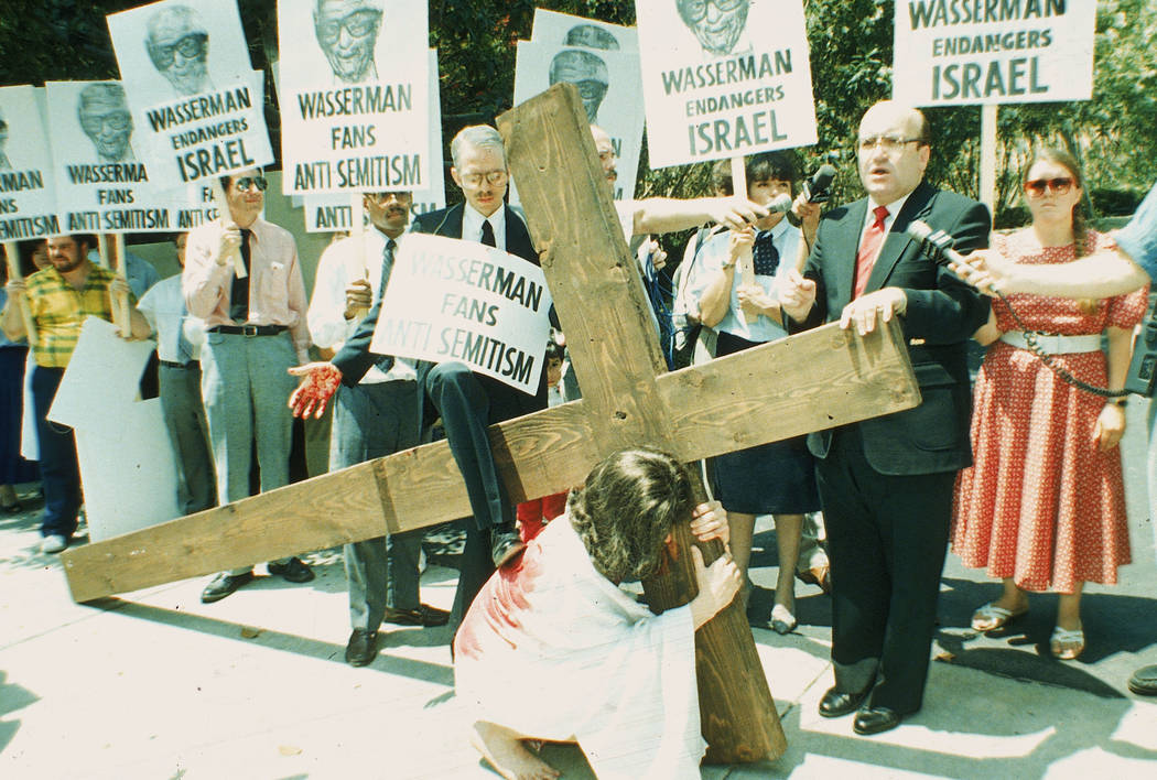 Conservative Christians, led by Dr. R.L. Hymers Jr., right, pastor of the fundamentalist Baptis ...
