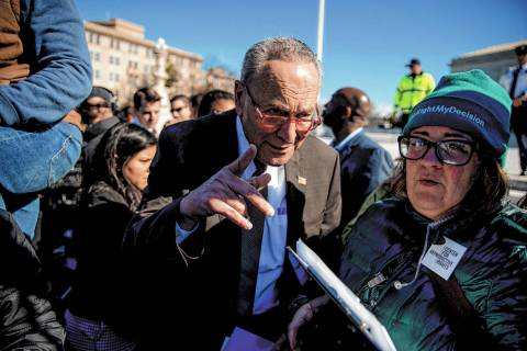 Senate Minority Leader Sen. Chuck Schumer of N.Y. arrives to speak to abortion rights demonstra ...
