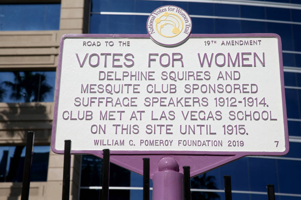 A Votes for Women marker at Centennial Plaza adjacent to the Historic Fifth Street School in do ...