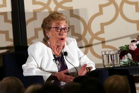 Eva Schloss, stepsister of Anne Frank, speaks at JW Marriott in Las Vegas on Thursday, March 5, ...