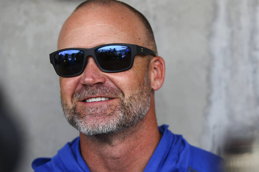 Chicago Cubs manager David Ross speaks with the media before a baseball game against the Cincin ...