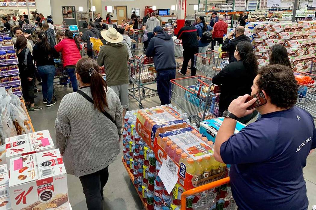 Shoppers visit a Costco Wholesale in Las Vegas on Monday, March 2, 2020. (David Guzman/Las Vega ...