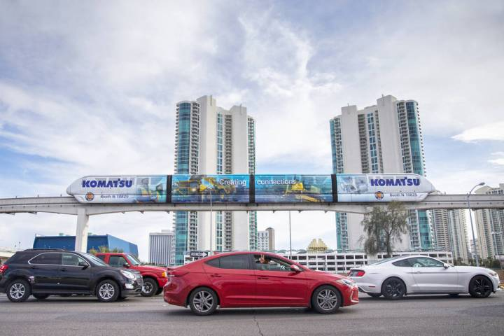 A Las Vegas Monorail travels east along West Sahara Avenue on Saturday, March 7, 2020, in Las V ...