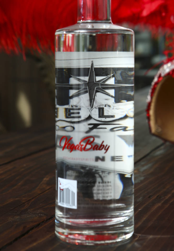 The back side of bottle of Vegas Baby Vodka, showing an inner label with a picture, in Las Vega ...