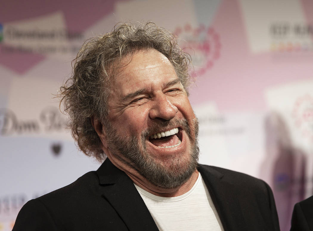 Sammy Hagar shares a laugh with the media on the red carpet during the 24th Annual Power of Lov ...