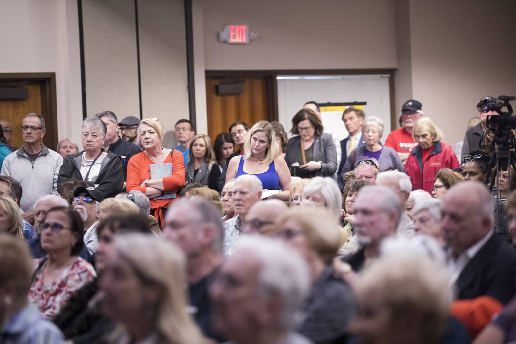 A packed house at a meeting the city hosted to provide information and gather feedback on the f ...