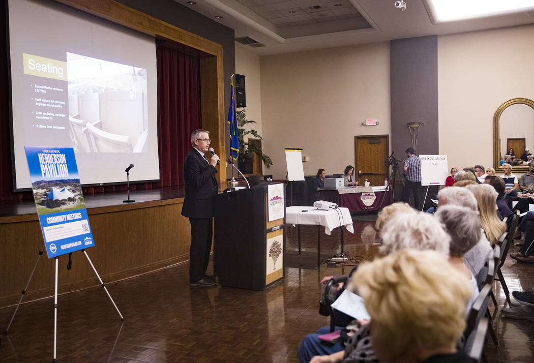 Asst. City Manager Robert Herr addresses a packed house at a meeting the city hosted to provide ...