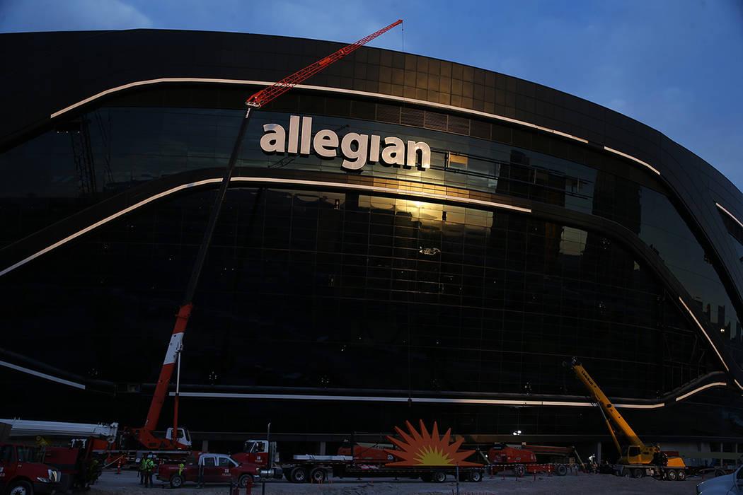The sunrise reflects at the Raiders Allegiant Stadium in Las Vegas, Saturday, March 7, 2020. (E ...