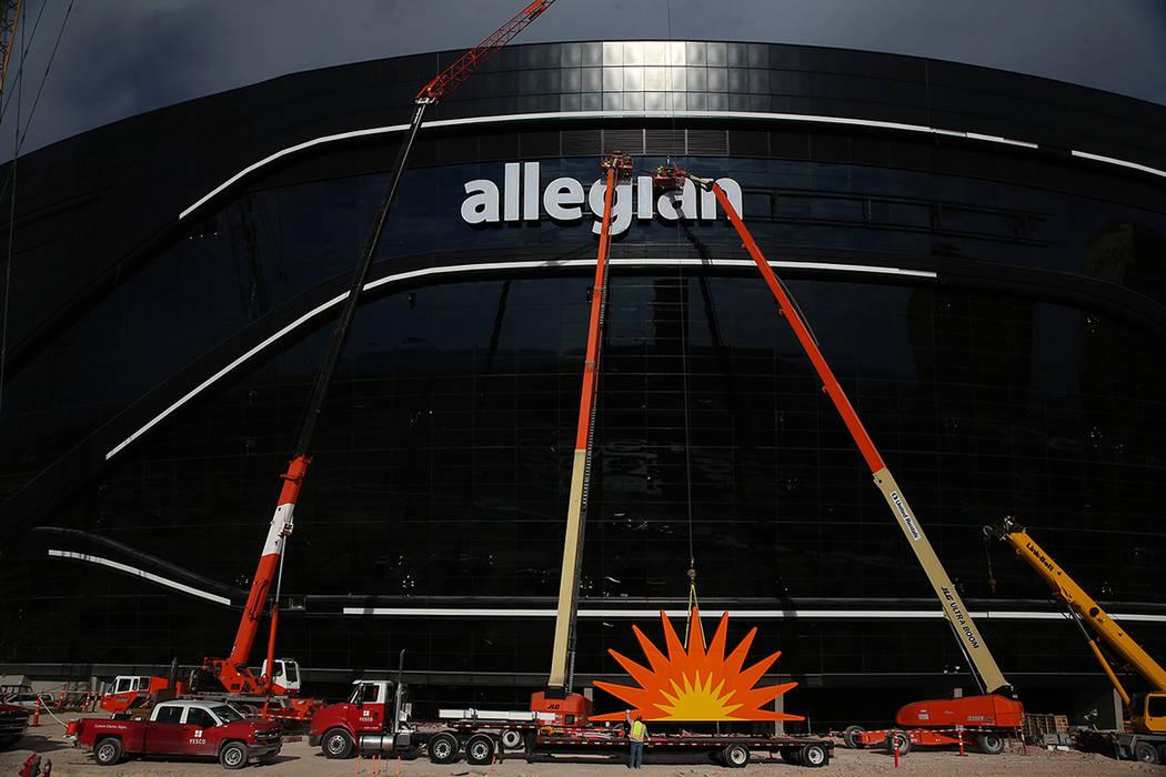 The signage is installed at the Raiders Allegiant Stadium in Las Vegas, Saturday, March 7, 2020 ...