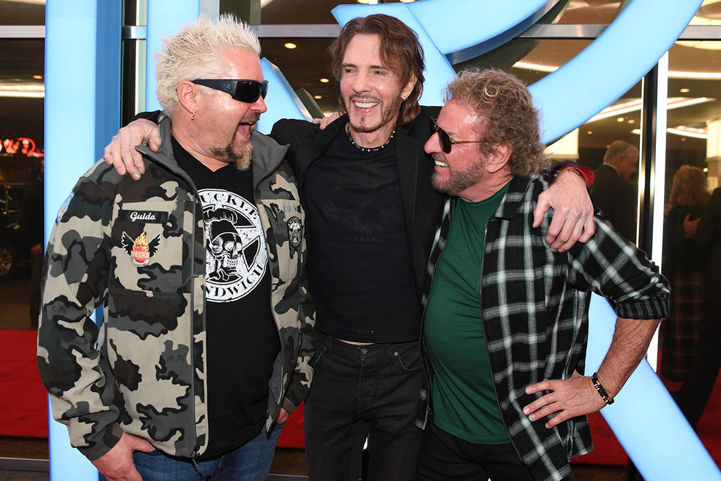 Guy Fieri, Rick Springfield and Sammy Hagar attend the ribbon-cutting ceremony for the reinvent ...