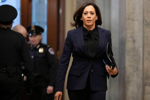 Sen. Kamala Harris, D-Calif., arrives on Capitol Hill in Washington, Friday, Jan. 31, 2020, for ...