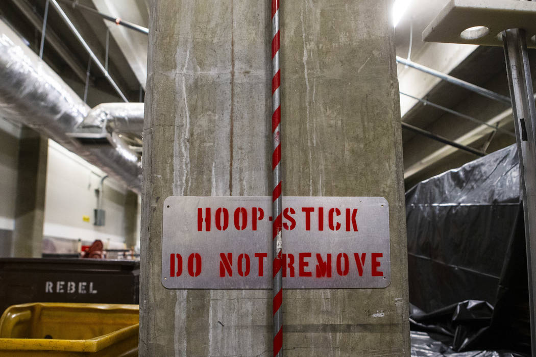 The hoop stick at the Orleans Arena in Las Vegas on Monday, March 9, 2020. (Chase Stevens/Las V ...