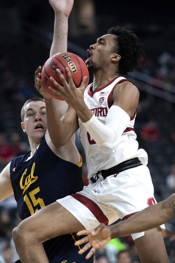 Standford's guard Bryce Wills (2) goes up for a point against California's forward Grant Antice ...
